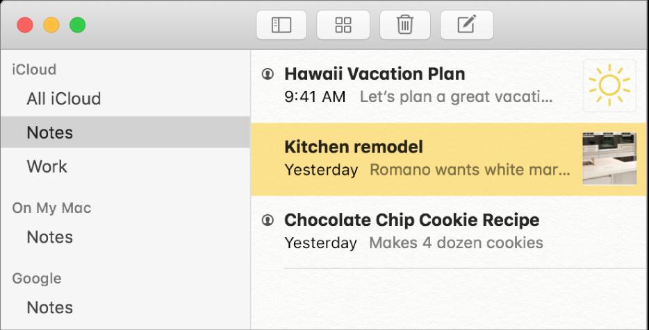 """La lista de cuentas en Notas mostrando iCloud, """"En mi Mac"""" y otras cuentas como Google."""