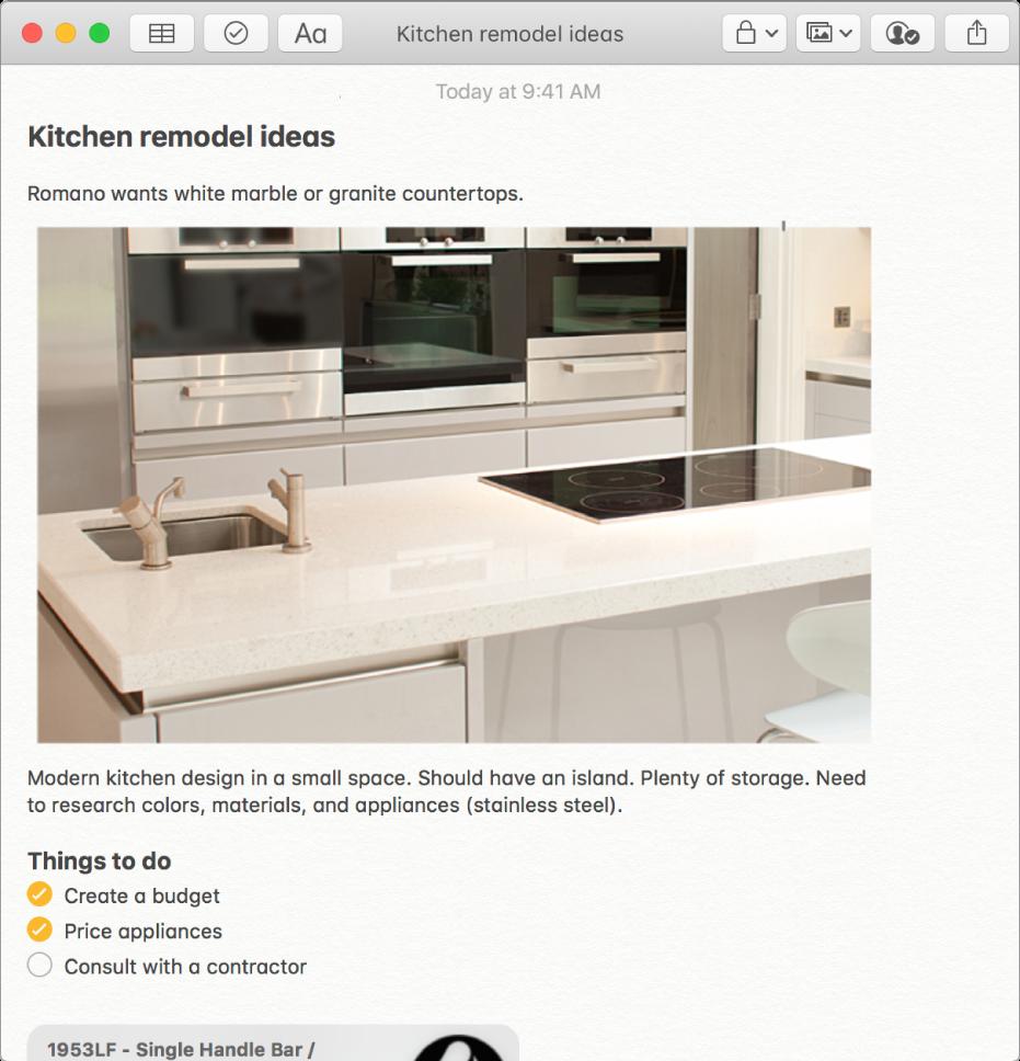 주방의 사진, 주방 리모델링 계획에 대한 설명 및 해야할 일의 체크리스트를 포함하는 메모.