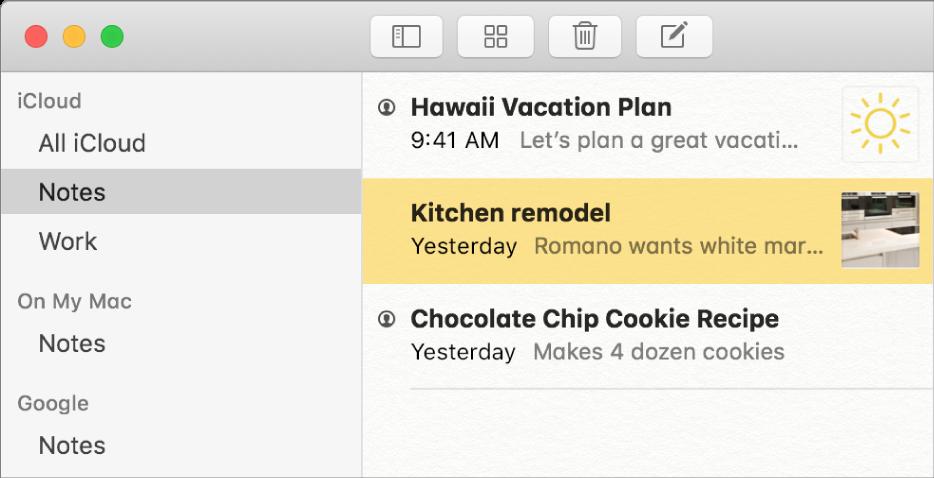 Lista de contas no Notas mostrando iCloud, Em Meu Mac e outras contas, como Google.