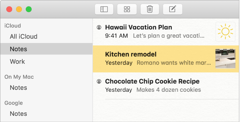 「備忘錄」中的帳號列表顯示了 iCloud、On My Mac 及其他如 Google 的帳號。