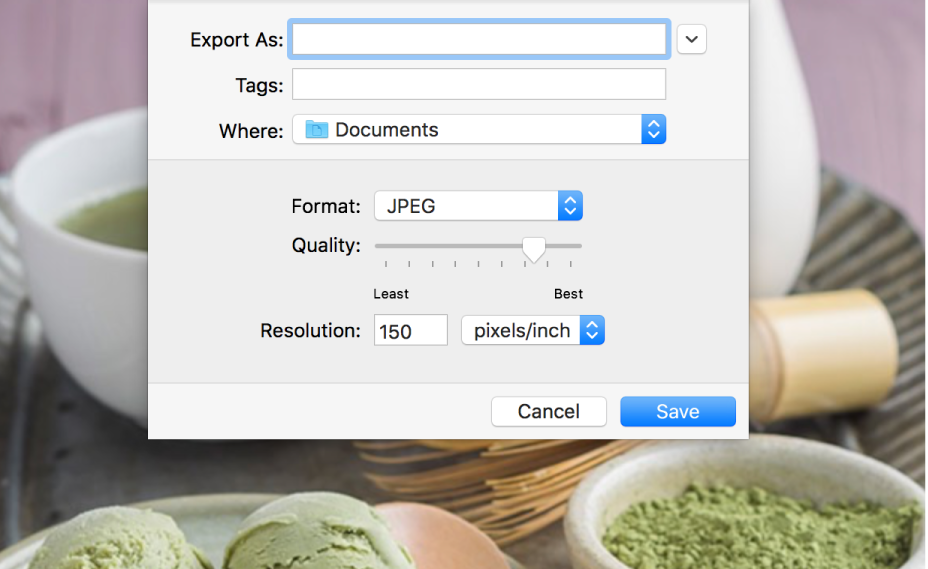 The Export options in Preview.