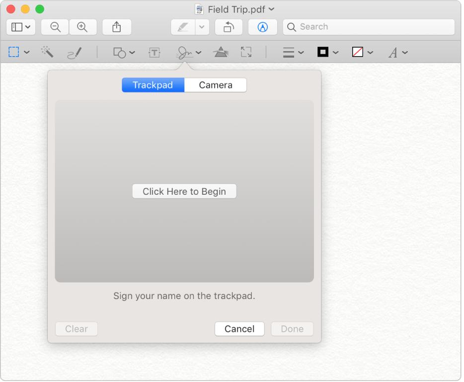 The signature tool in Preview.