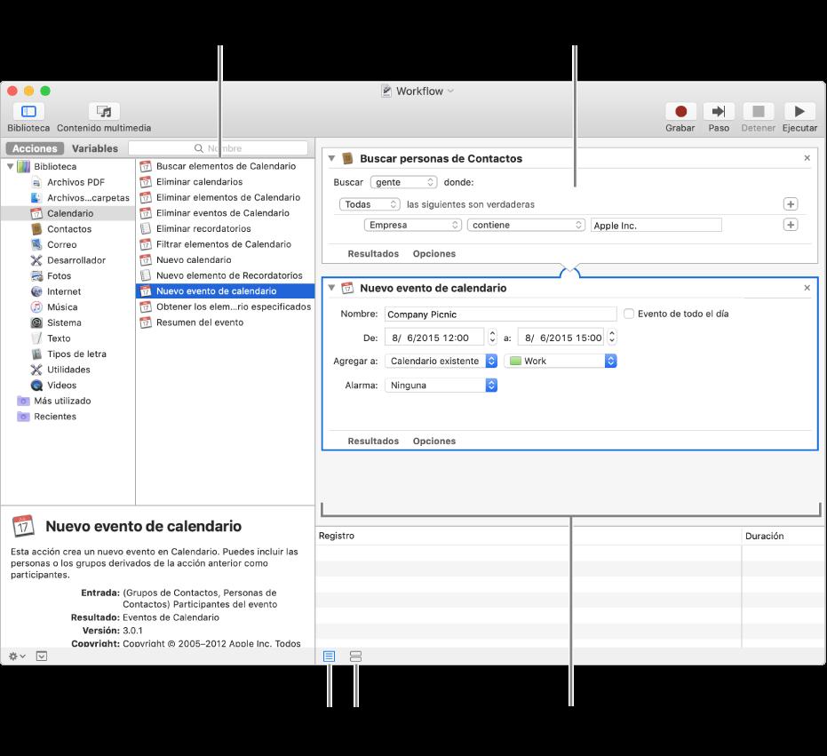 La ventana de Automator. La biblioteca aparece en el extremo izquierdo y contiene una lista de las apps para las que Automator proporciona acciones. La app Calendario está seleccionada en la lista, y las acciones disponibles para ella están en una columna a la derecha. En el lado derecho de la ventana hay un flujo de trabajo que tiene una acción de Calendario agregada.