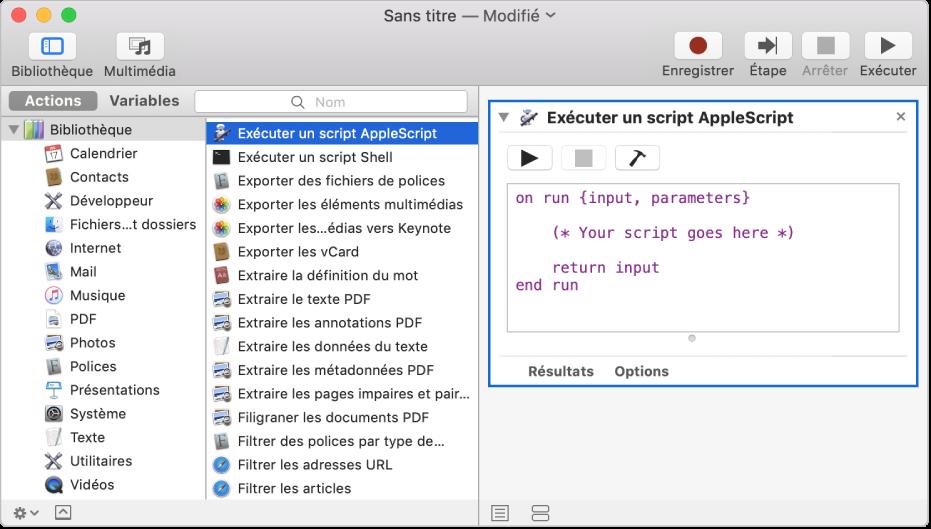 La fenêtre Automator avec une action Exécuter AppleScript.