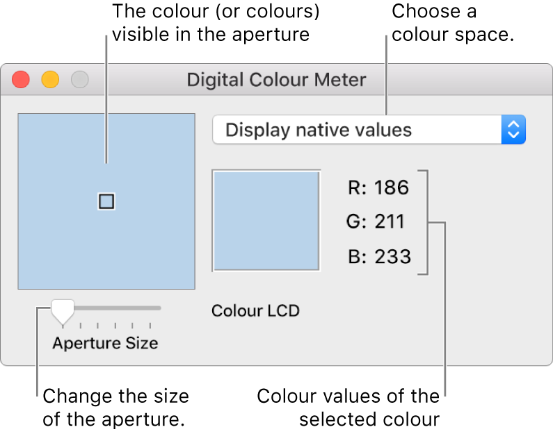 The Digital Color Meter window, showing the colour selected in the aperture at left, the colour space pop-up menu, the colour values and the Aperture Size slider.