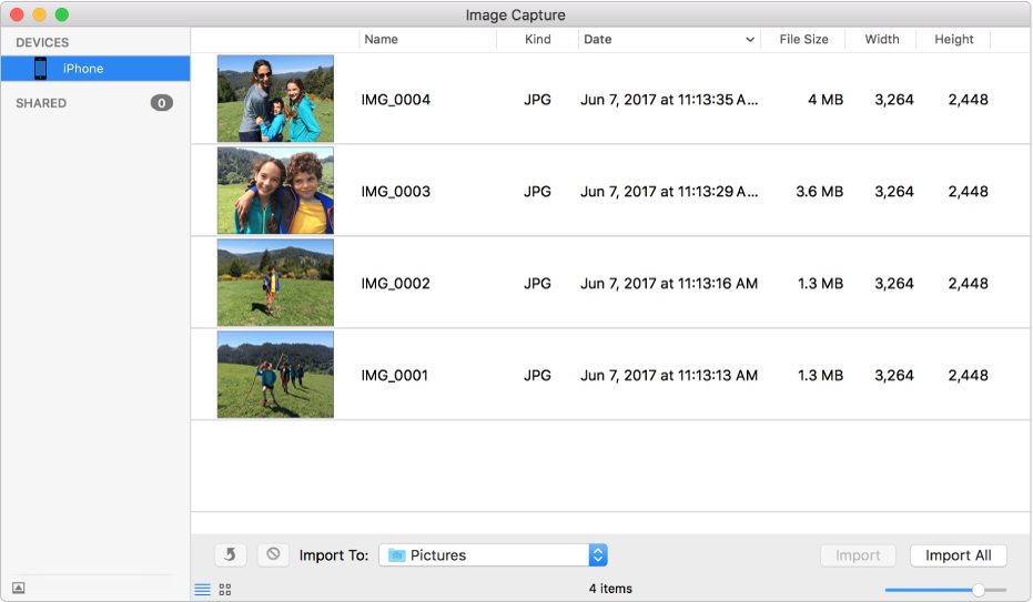 The Image Capture window showing pictures to be imported from an iPhone.