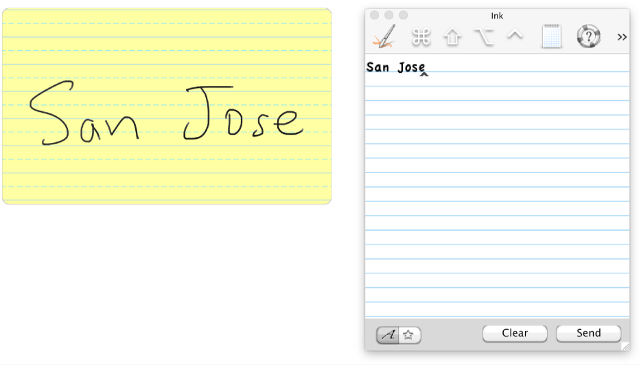 Handwritten text transferred to the Ink pad.