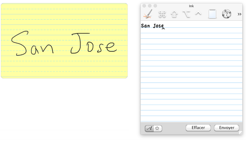 Texte manuscrit transféré sur l'Inkpad.