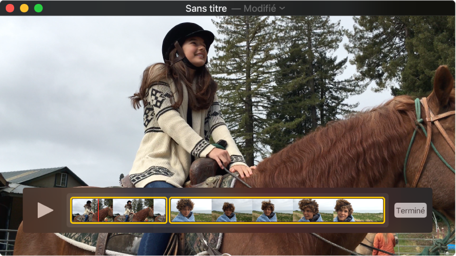 La fenêtre QuickTimePlayer avec affichage de l'éditeur de plan dans le bas.