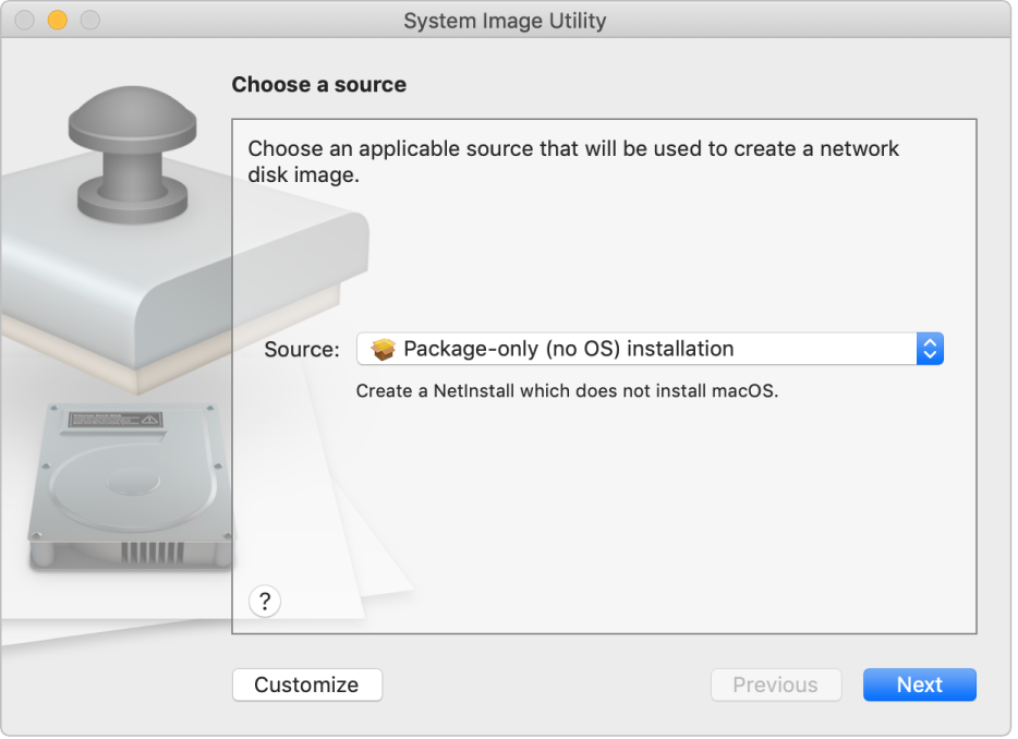 The System Image Utility window showing a source selected to create a package-only installation.