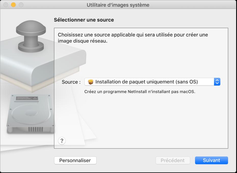 La fenêtre d'Utilitaire d'images système avec une source sélectionnée pour créer une installation de paquet uniquement.