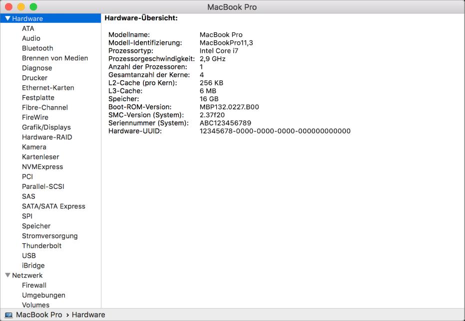 Der Abschnitt zu den Hardwarespezifikationen in einem Systembericht