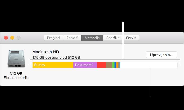 Pomaknite pokazivač iznad boje da biste vidjeli količinu prostora koji zauzima svaka kategorija. Bijeli prostor predstavlja slobodni memorijski prostor.