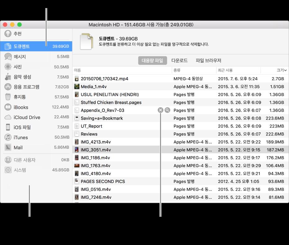 파일의 카테고리를 정렬하여 사용한 공간의 크기를 확인하고 파일을 찾거나 더 이상 필요하지 않은 항목을 삭제할 수 있습니다.