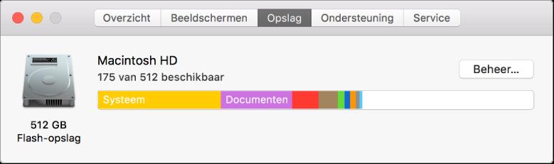 Het paneel 'Opslag' in Systeeminformatie, met een grafische weergave van de opslagruimte.