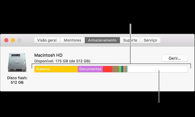 Coloque o cursor sobre uma cor para visualizar a quantidade de espaço utilizada por cada categoria. O espaço em branco representa o espaço de armazenamento livre.