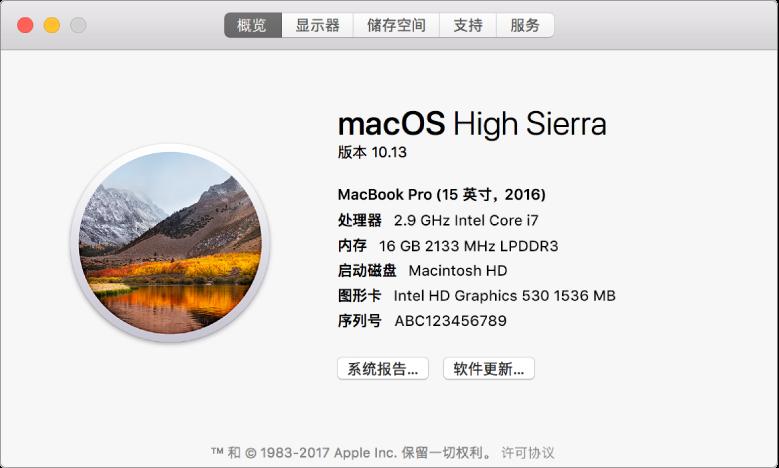 """""""系统信息""""中的""""概览""""面板显示 Mac 的基础硬件、软件规格和序列号。"""