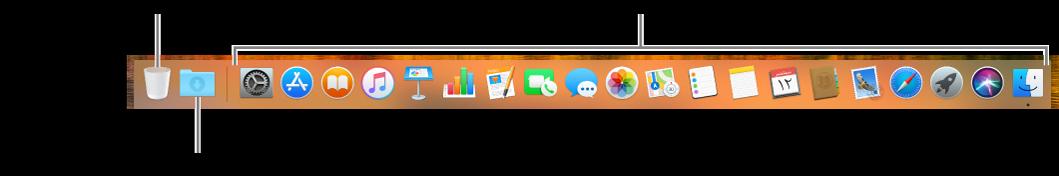 شريط Dock وتظهر فيه أيقونات تطبيقات، وأيقونة مكدس التنزيلات، وأيقونة سلة المهملات.