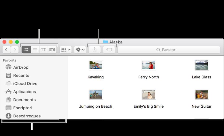 Exemple d'una finestra del Finder.