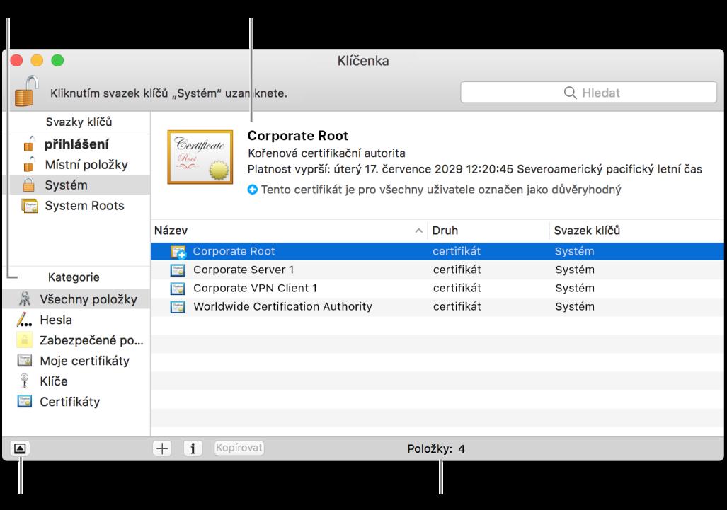 Hlavní části okna klíčenky na iCloudu: seznam kategorií, seznam položek svazku klíčů ajejich popis.