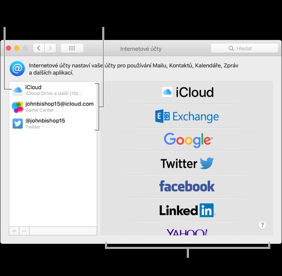 Předvolby Internetové účty, kde jsou vpravo vidět účty iCloud aTwitter avlevo další dostupné typy účtů
