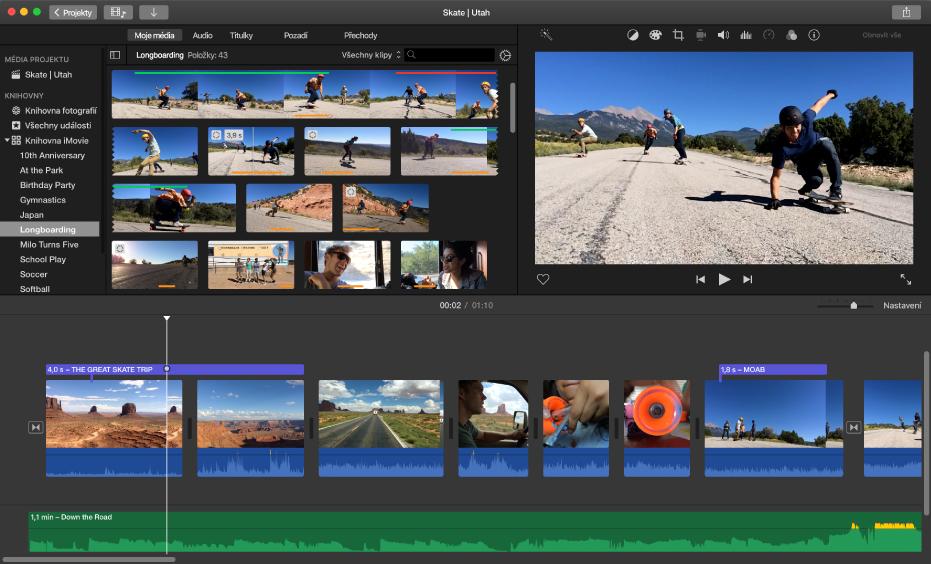 Ukázka okna aplikace iMovie