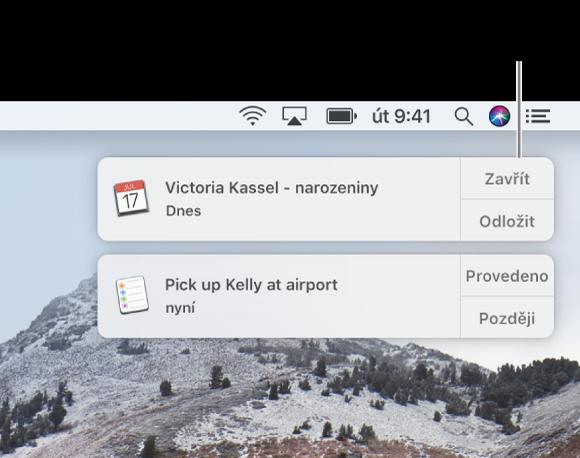 Oznámení zaplikací Kalendář aPřipomínky vpravém horním rohu obrazovky