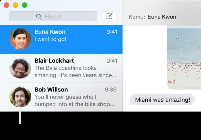 Boční panel aplikace Zprávy, na němž jsou vidět jména osob spolu spříslušnými obrázky
