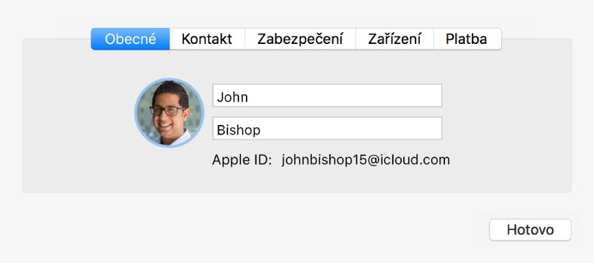 Dialog Podrobnosti oúčtu vpředvolbách iCloudu