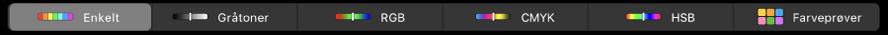 Touch Bar, der viser farvemodellerne – fra venstre til højre – Enkelt, Gråtoner, RGB, CMYK og HSB. I højre side vises knappen Farveprøver.
