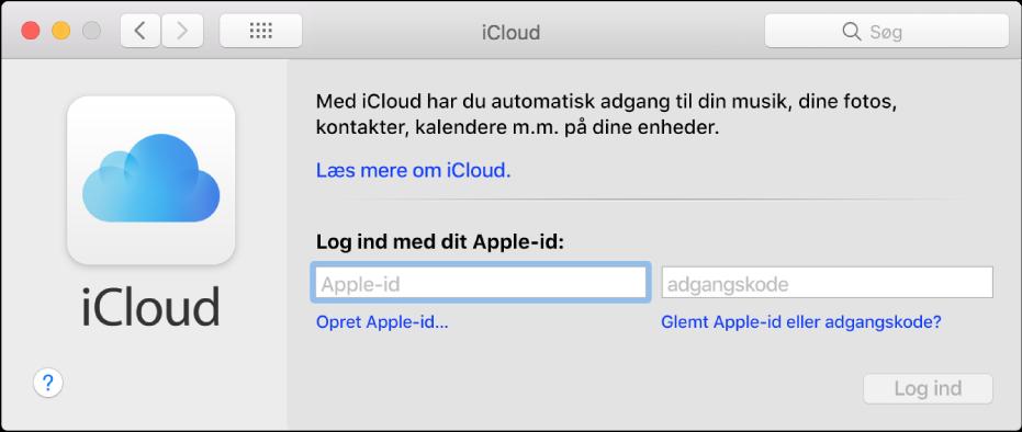 Vinduet iCloud, klar til indtastning af et navn og en adgangskode til Apple-id