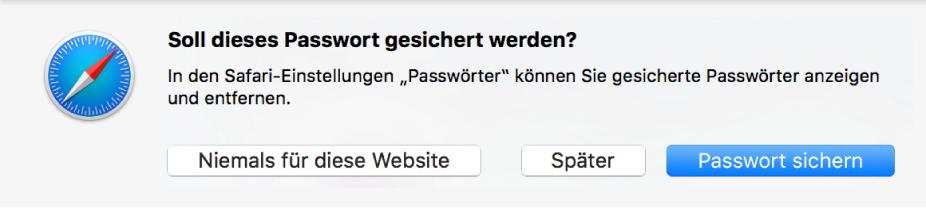 Ein Dialogfenster fragt, ob das Passwort für eine Website gesichert werden soll.