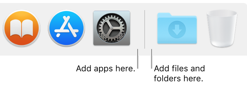 A Dock separator line between apps (on the left) and files and folders (on the right).