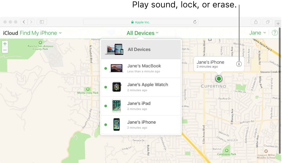 A map in Find My iPhone on iCloud.com showing the location of a Mac.