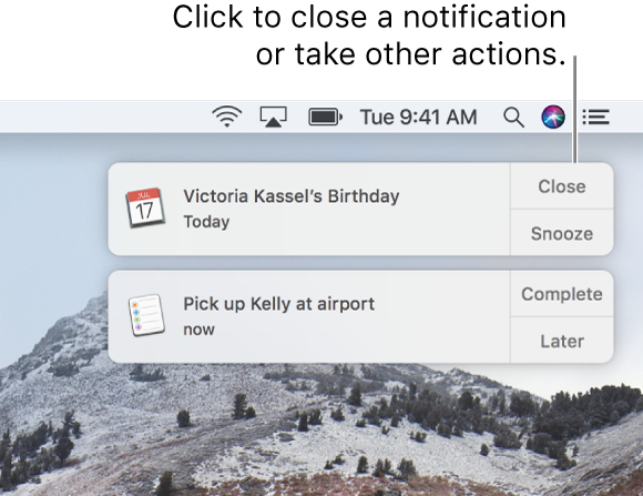 Notifications from the Calendar and Reminders apps in the upper-right corner of the screen.