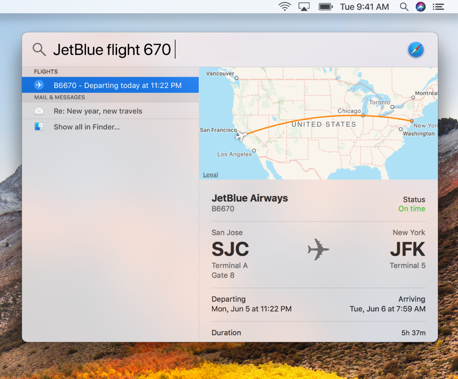 The Spotlight window showing flight status results.