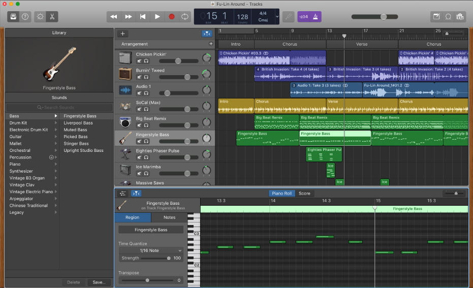 An example of a GarageBand window.