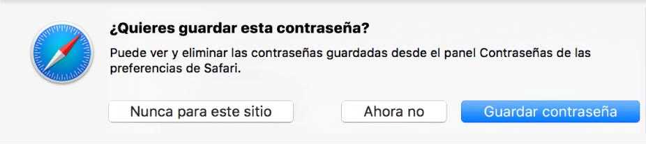 Un diálogo que pregunta si quieres guardar la contraseña para un sitio web.