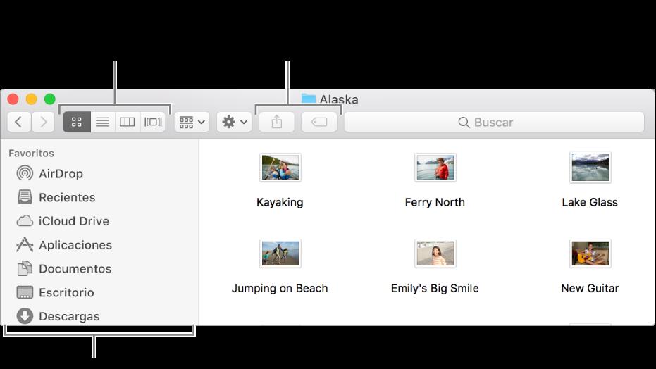 Un ejemplo de una ventana del Finder.