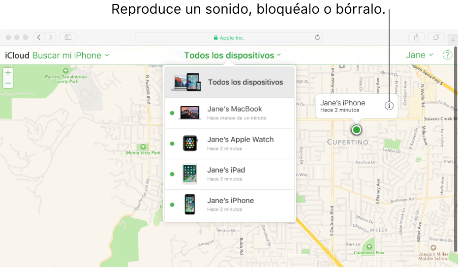 Un mapa en Buscar mi iPhone en iCloud.com mostrando la ubicación de una Mac.