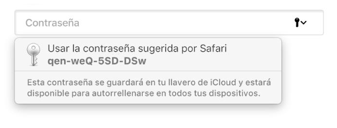 Una contraseña sugerida por Safari, indicando que se guardará en el Llavero de iCloud del usuario y que estará disponible en Autorrelleno en los dispositivos del usuario.