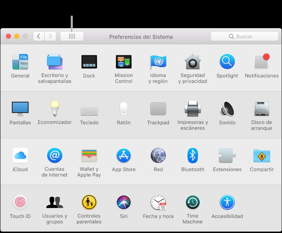 """Ventana de Preferencias del Sistema en la que se muestra la cuadrícula de iconos. Haz clic en el botón """"Mostrar todo"""" de la barra de herramientas de la ventana para ver las preferencias del sistema a modo de lista o para cambiar cómo se muestra la cuadrícula."""
