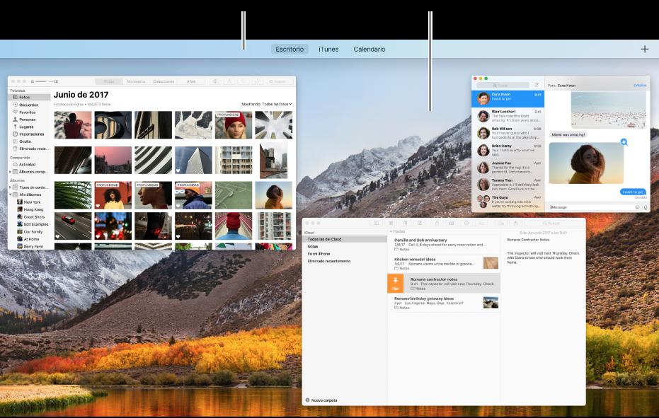 Varias ventanas abiertas en MissionControl con la barra de Spaces en la parte superior de la pantalla.