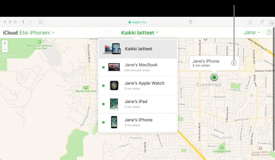 EtsiiPhoneni -toiminnon kartta iCloud.comissa näyttää Macin sijainnin.