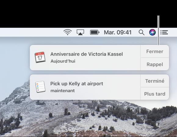 Notifications des apps Calendrier et Rappels dans le coin supérieur droit de l'écran.
