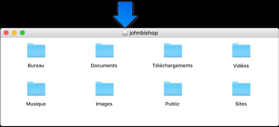 La petite icône située dans la barre de titre de la fenêtre d'image disque du dossier de départ d'un utilisateur supprimé.