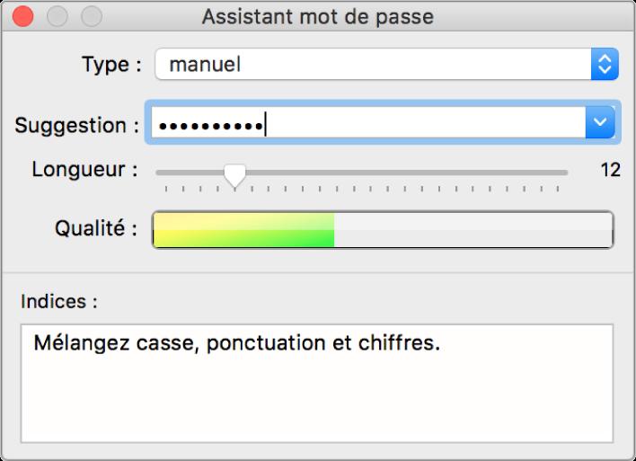 La fenêtre Assistant mot de passe présente les différentes options de création d'un mot de passe.