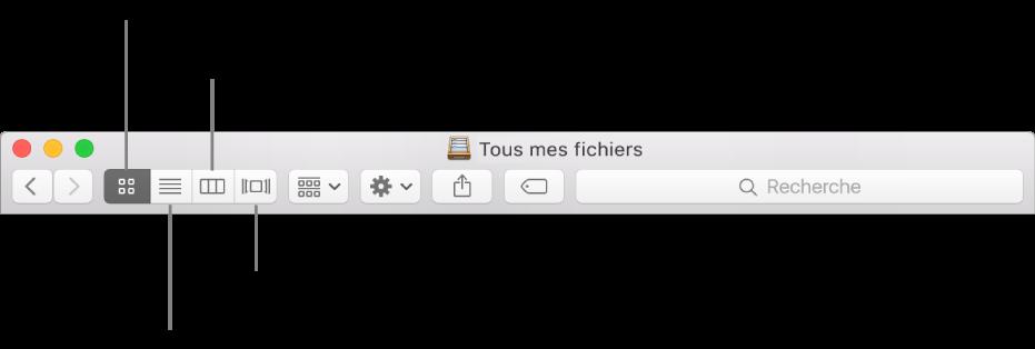 Boutons Présentation d'une fenêtre du Finder.