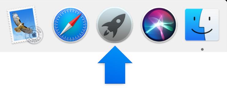 חץ כחול מצביע על צלמית Launchpad ב-Dock.