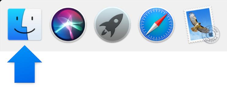 Dock में बाईं ओर Finder आइकन की ओर संकेत करता हुआ एक नीला तीर।